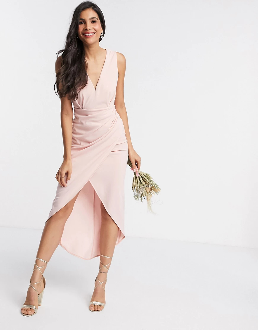 TFNC London | Розовое платье миди с v-образным вырезом TFNC Bridesmaid-Бeжeвый | Clouty
