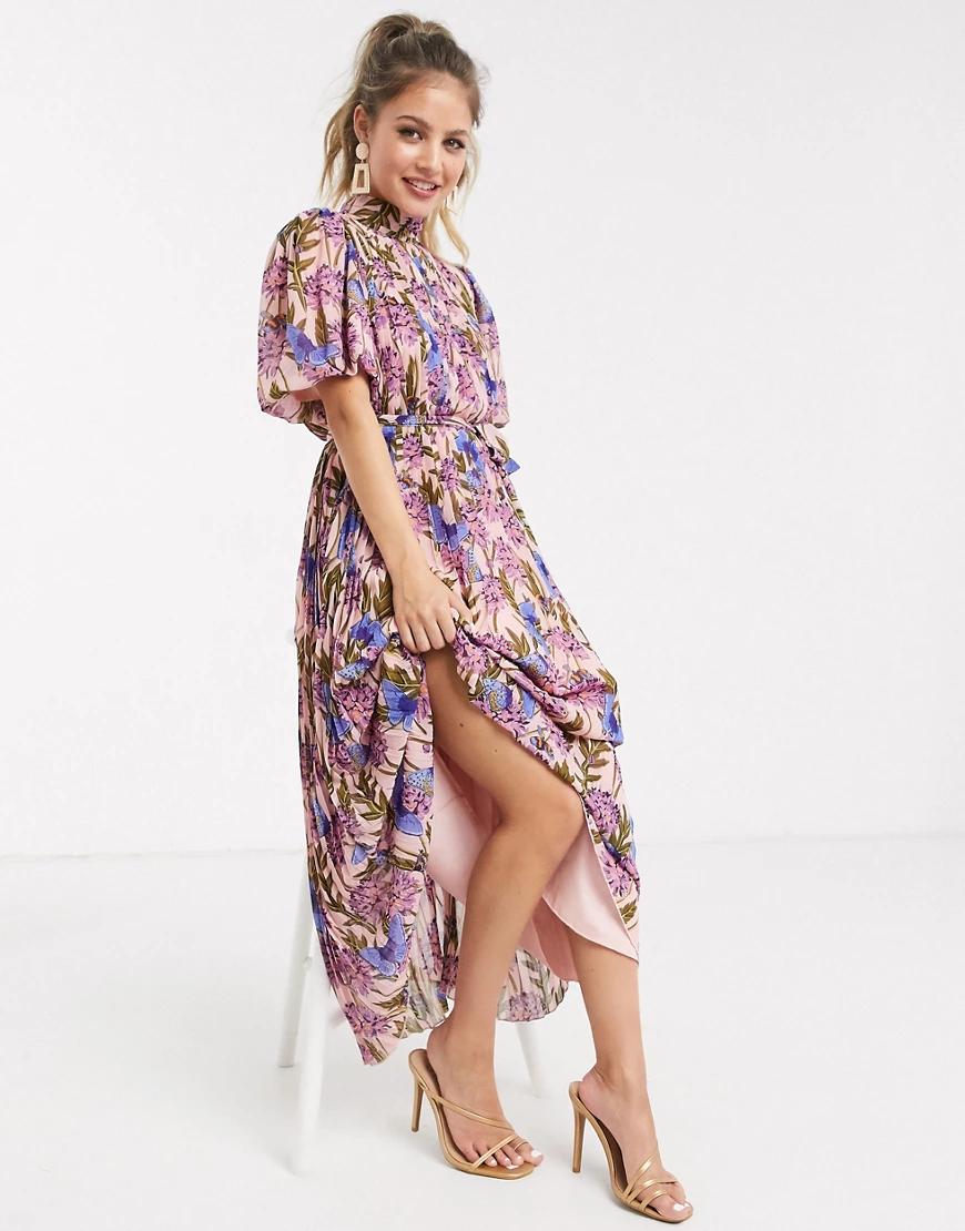 Forever U | Розовое плиссированное платье мидакси с цветочным принтом Forever У-Мульти | Clouty