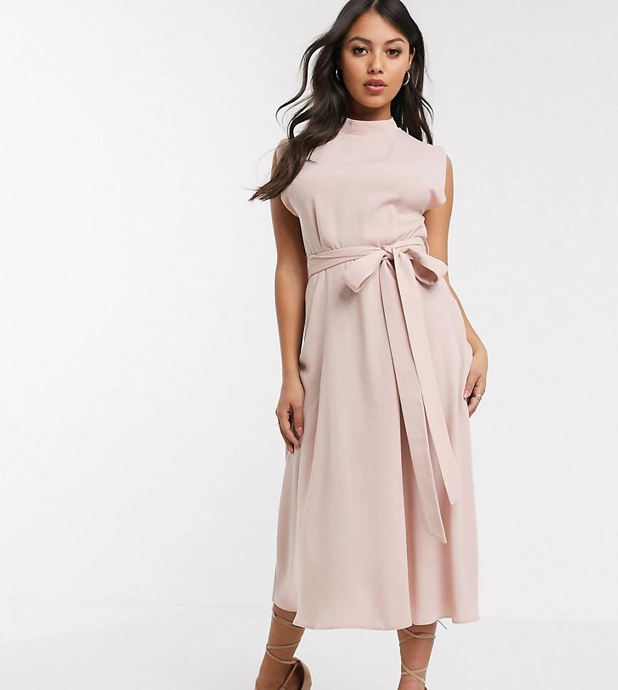 ASOS DESIGN   Розовое приталенное платье миди с высоким воротником ASOS DESIGN Реtitе-Розовый   Clouty