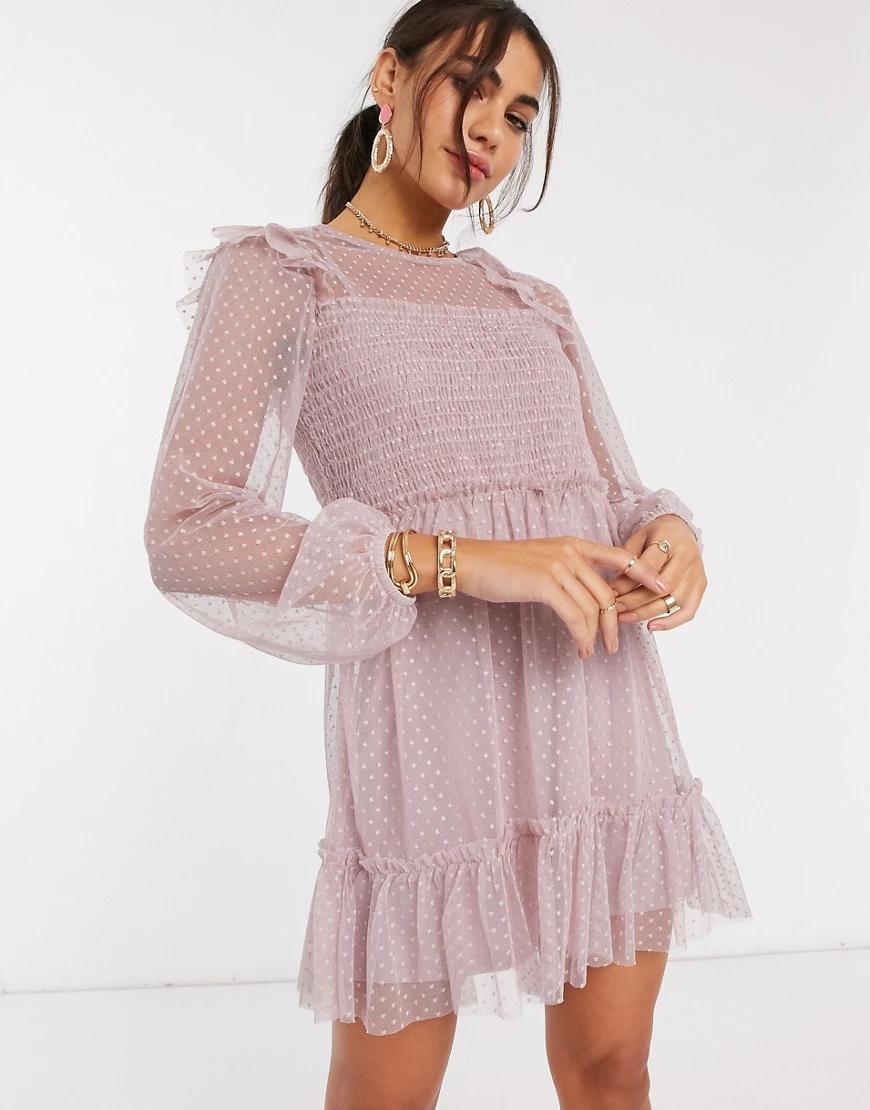 River Island | Розовое сетчатое платье с длинными рукавами и сборками River Islапd-Розовый цвет | Clouty