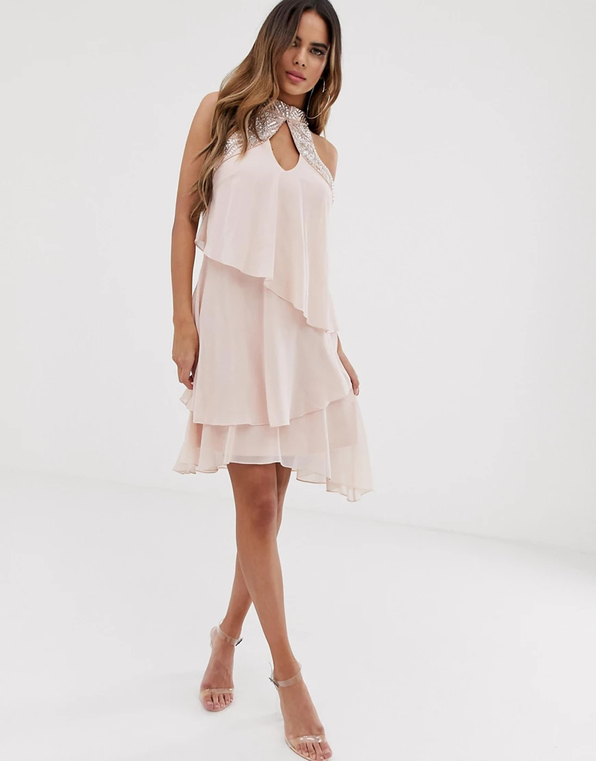 Lipsy | Розовое свободное ярусное платье из шифона с отделкой Liрsу-Розовый | Clouty