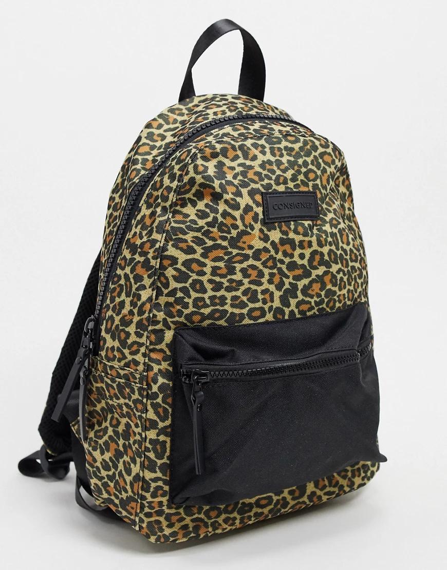 Consigned | Рюкзак с леопардовым принтом и карманом спереди Consigned-Myльтu | Clouty