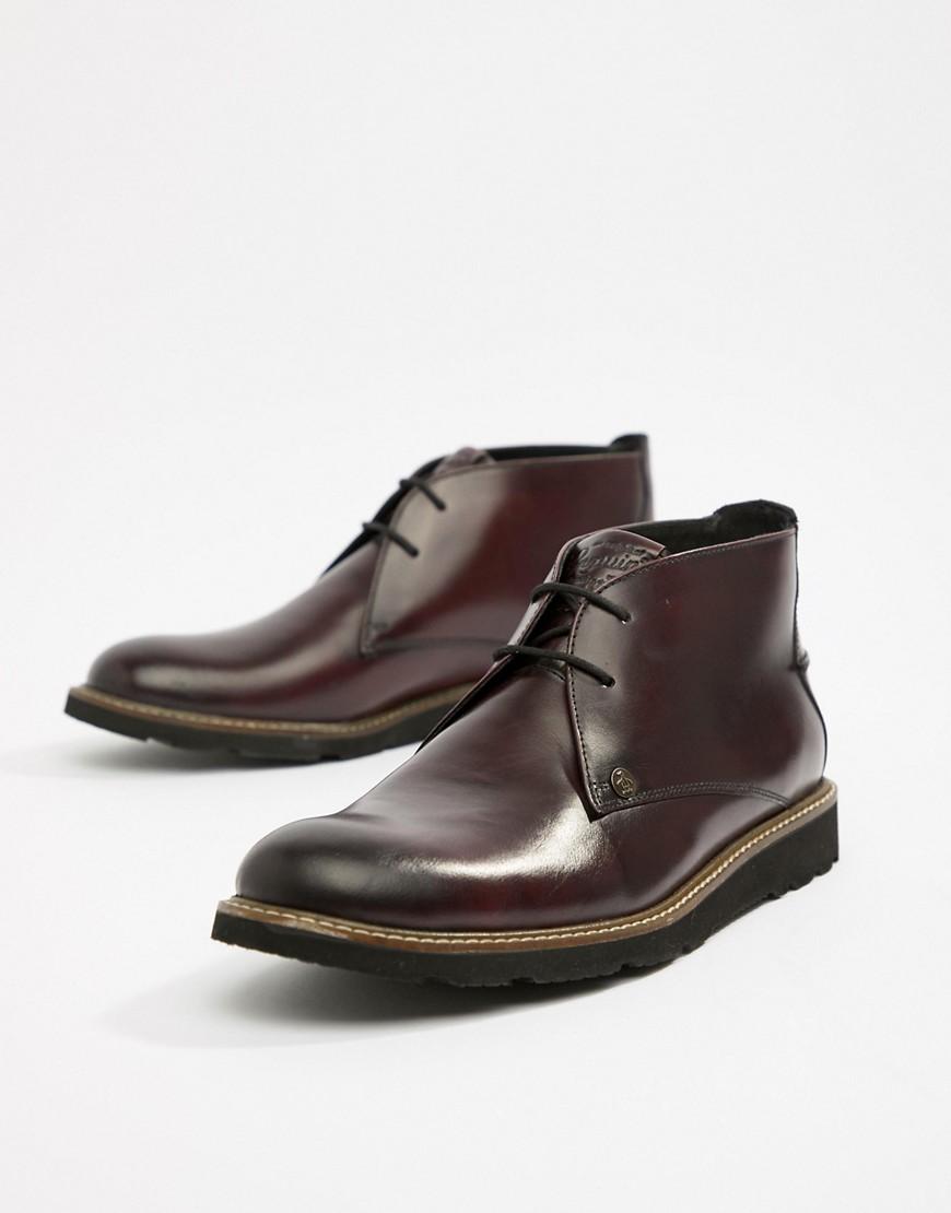 Original Penguin | Темно-бордовые кожаные ботинки со шнуровкой Original Penguin-Красный | Clouty