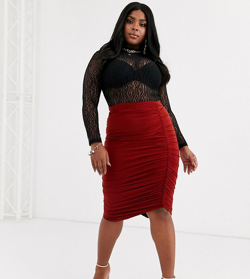 Club L London Plus | Темно-коричневая юбка миди с присборенной отделкой Club L London Рlиs-Коричневый | Clouty