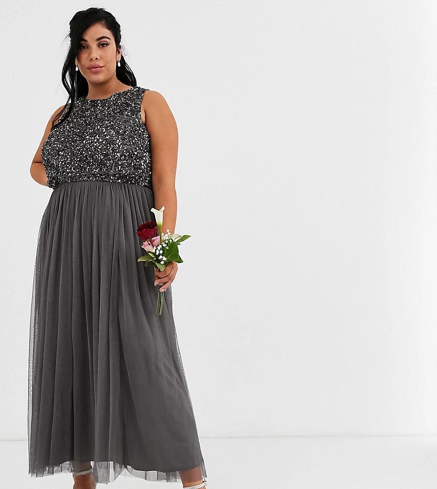 Maya | Темно-серое платье 2 в 1 с пайетками Maya Plus - bridesmaid-Cepый | Clouty