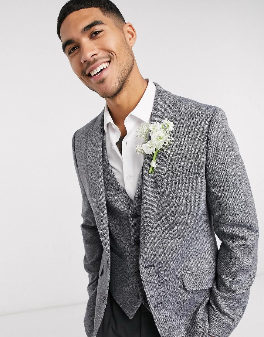 ASOS DESIGN | Темно-серый облегающий фактурный пиджак ASOS DESIGN Wedding | Clouty