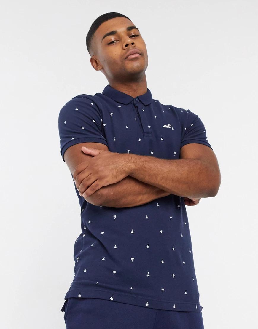Hollister | Темно-синее поло с геометрическим принтом Ноllistеr-Темно-синий | Clouty