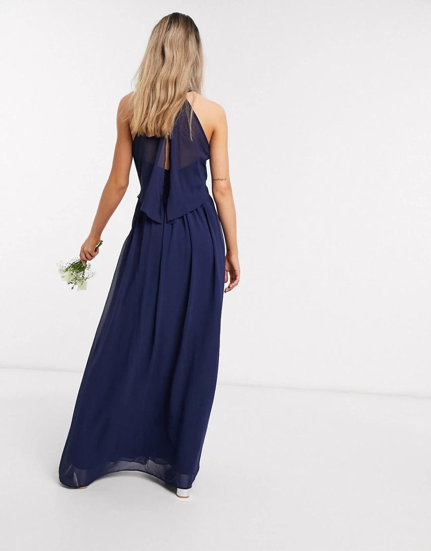 Chi Chi London | Темно-синее платье макси из шифона Chi Chi London Bridesmaid-Темно-синий | Clouty