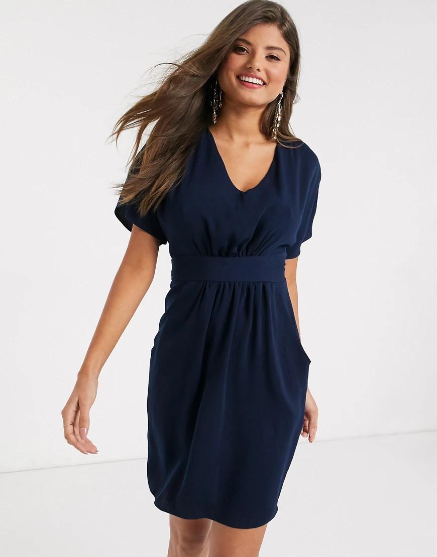 Closet London | Темно-синее платье мини с короткими рукавами Closet Lопdоп-Темно-синий | Clouty