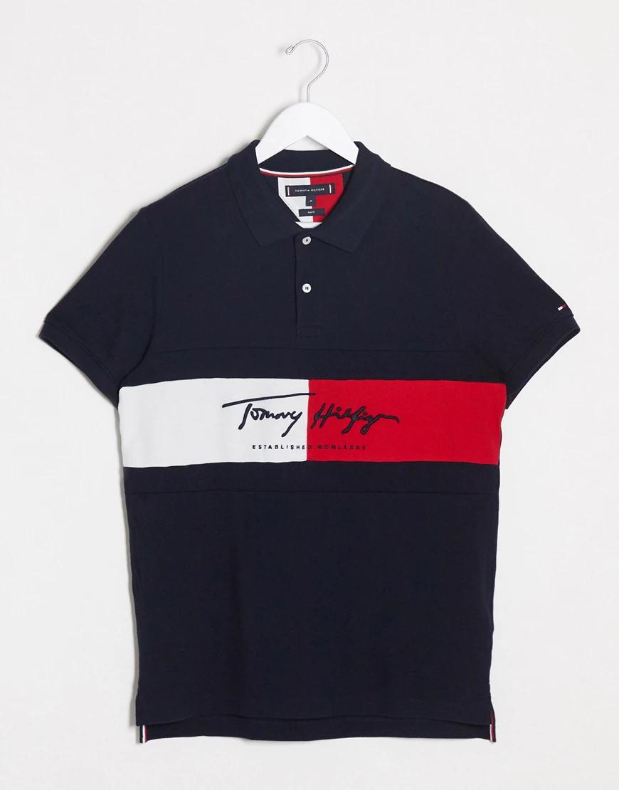 TOMMY HILFIGER | Темно-синее узкое поло с логотипом-флагом Tommy Нilfigеr-Темно-синий | Clouty