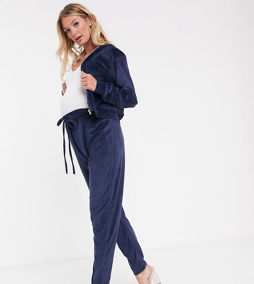Fashionkilla Maternity | Темно-синие бархатные джоггеры скинни на завязке Fashionkilla Maternity-Бeжeвый | Clouty