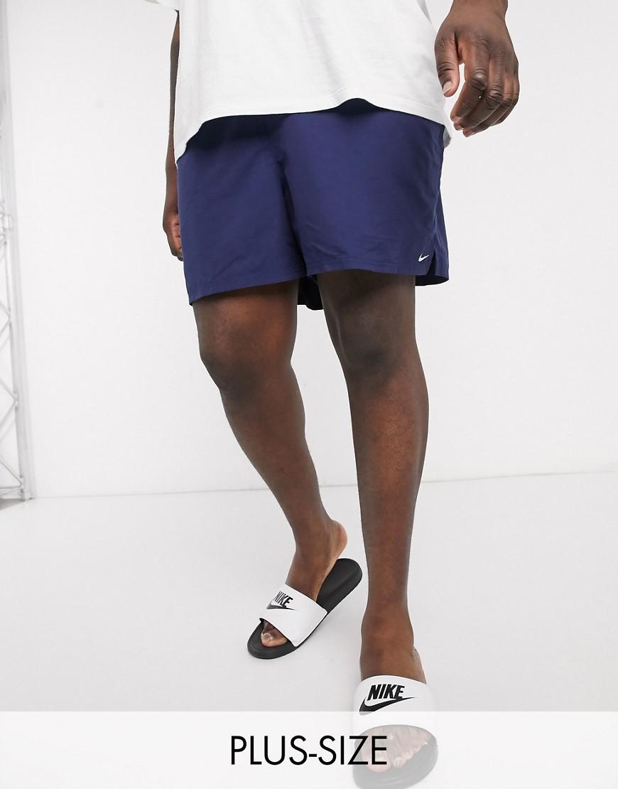 NIKE   Темно-синие волейбольные шорты 5 дюймов Nike Swimming Рlиs-Темно-синий   Clouty