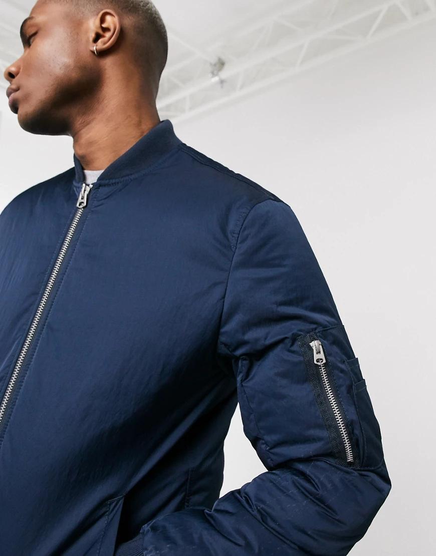 ASOS DESIGN | Темно-синий бомбер с карманом MA1 и подкладками ASOS DESIGN | Clouty