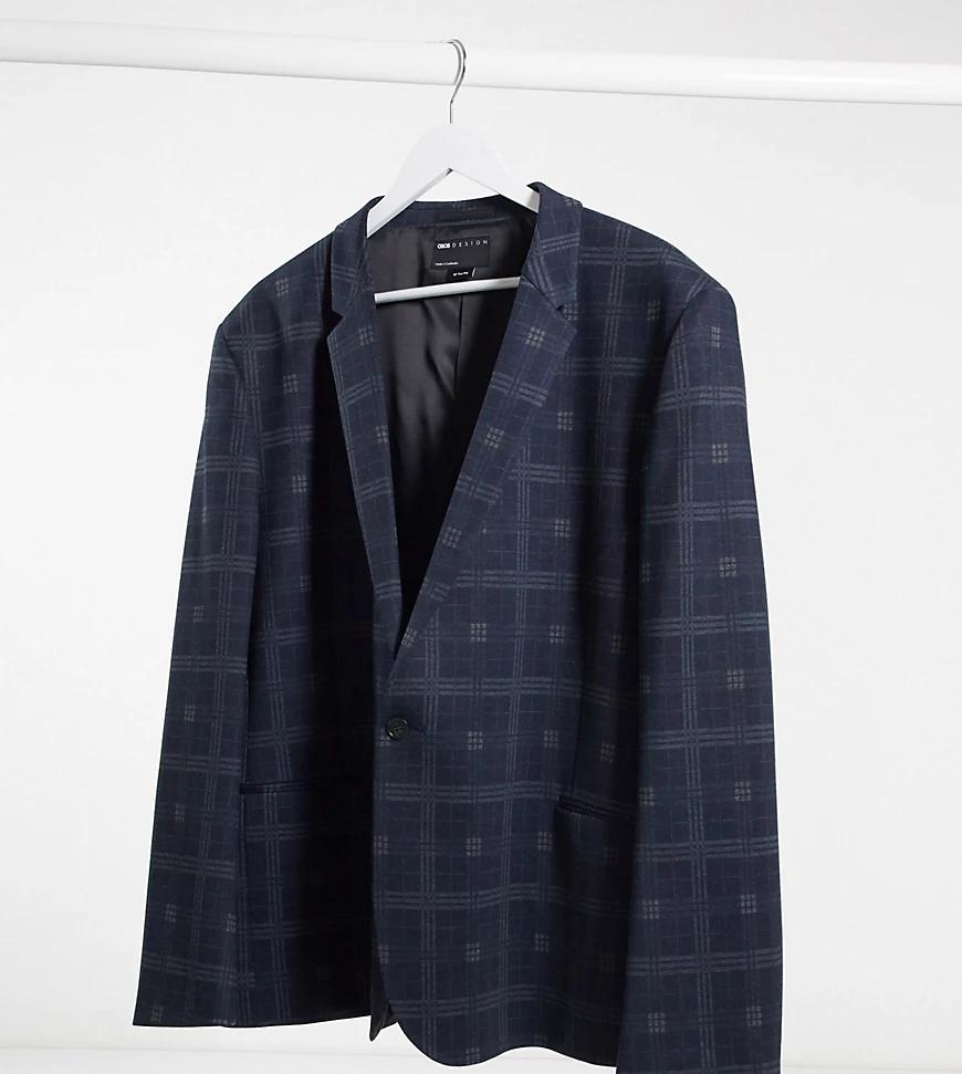 ASOS DESIGN   Темно-синий супероблегающий трикотажный пиджак в клеткуASOS DESIGNРlиs-Черный   Clouty