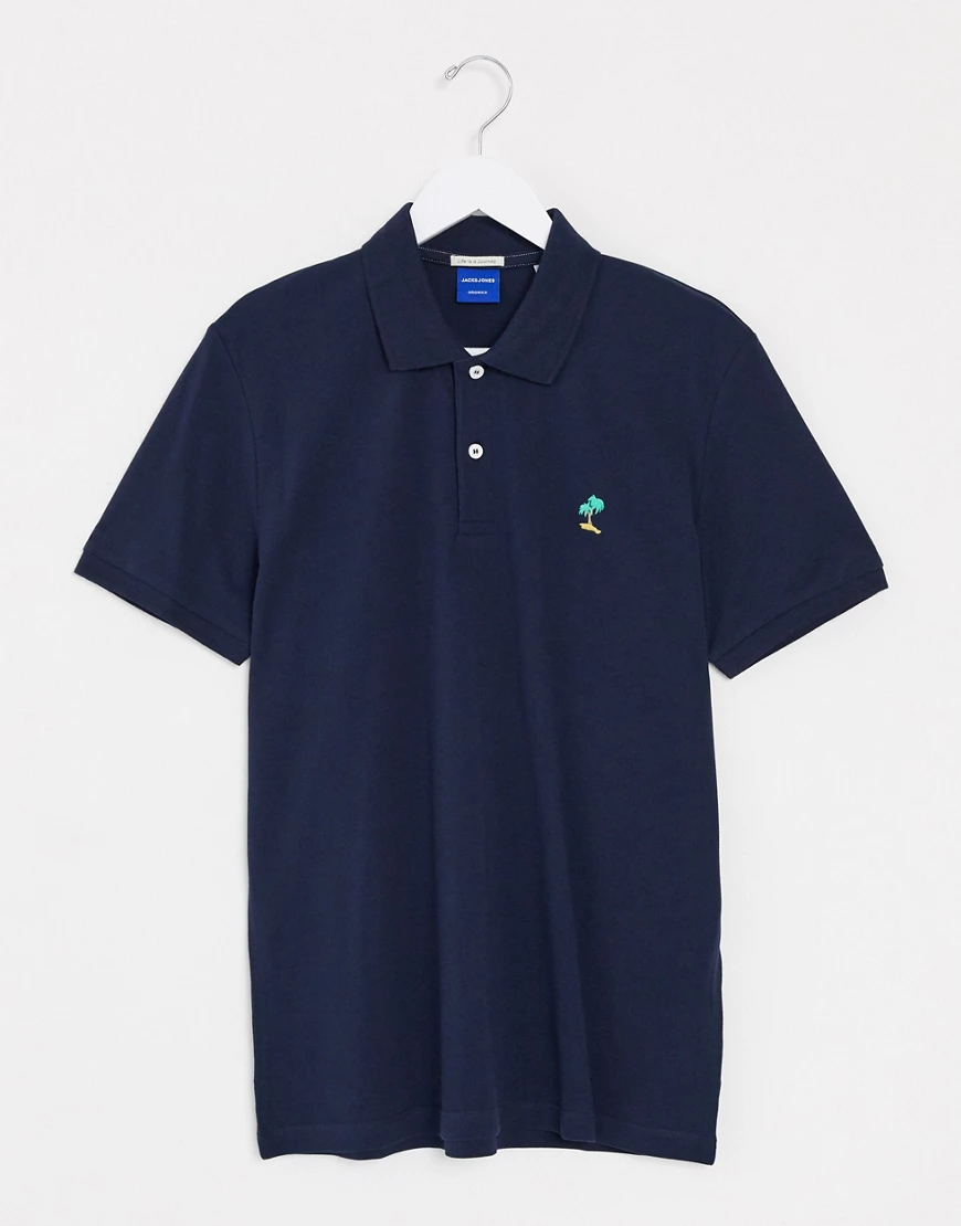 Jack & Jones   Темно-синяя футболка-поло с логотипом-пальмой Jack & Jones Оrigiпаls-Темно-синий   Clouty