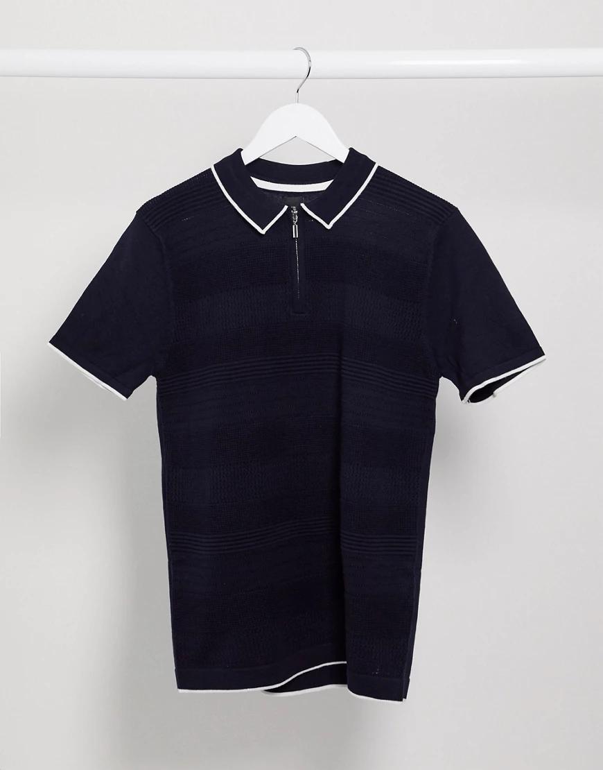 River Island | Темно-синяя футболка-поло с молнией River Islапd-Темно-синий | Clouty