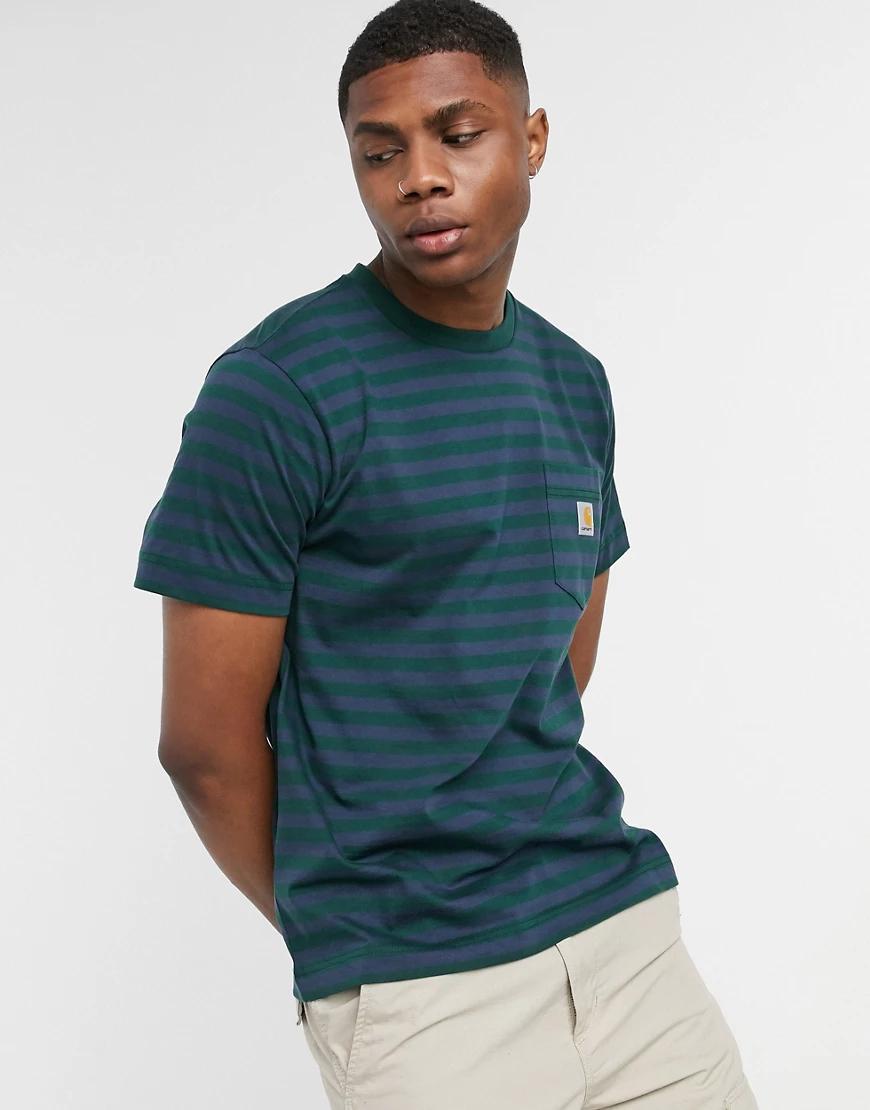 CARHARTT | Темно-синяя футболка с карманомCarhartt WIР-Темно-синий | Clouty