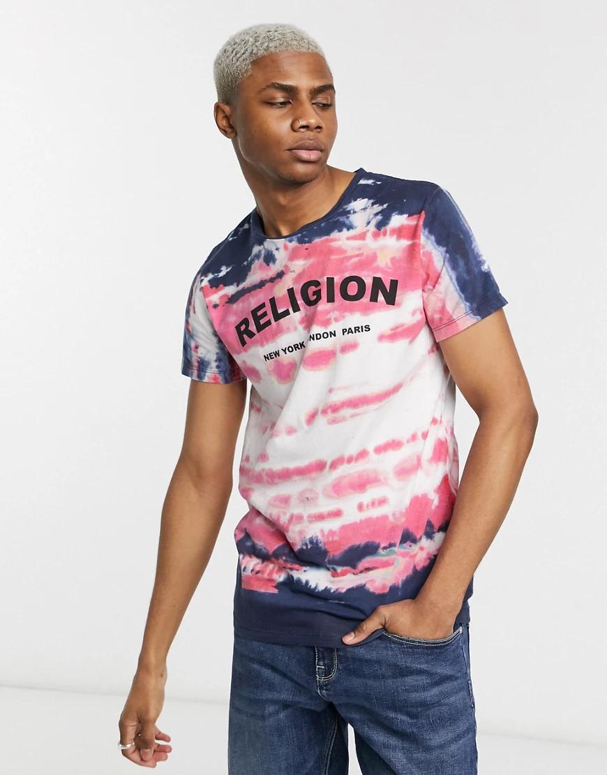 Religion   Темно-синяя футболка с логотипом на груди Rеligiоп-Темно-синий   Clouty