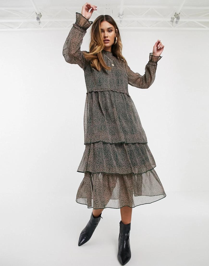 Y.A.S. | Темно-зеленое шифоновое платье миди с ярусной юбкой и цветочным принтом Y.А.S-Зеленый | Clouty
