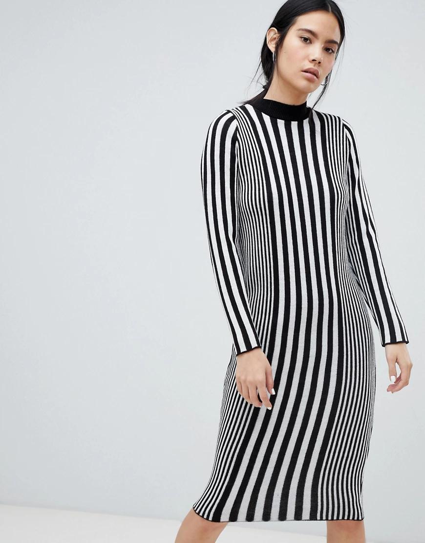 ASOS DESIGN | Трикотажное платье миди в вертикальную полоску ASOS DESIGN-Мульти | Clouty