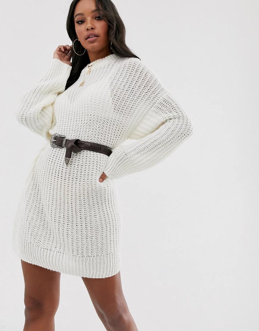 ASOS DESIGN | Трикотажное свободное платье мини крупной вязки ASOS DESIGN-Бeлый | Clouty