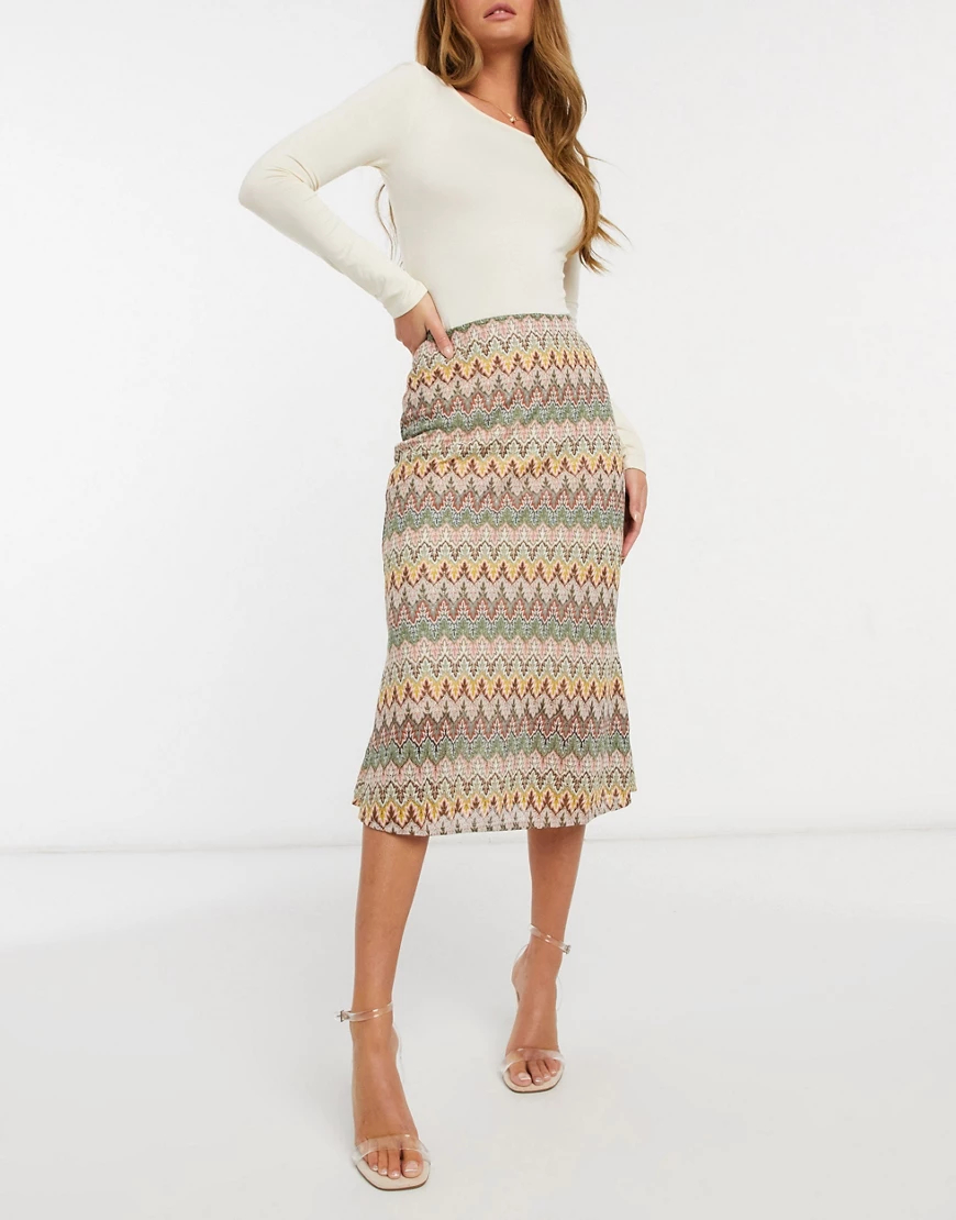 Never Fully Dressed | Трикотажная юбка миди с контрастным ажурным рисунком Never Fully Dressed-Myльтu | Clouty