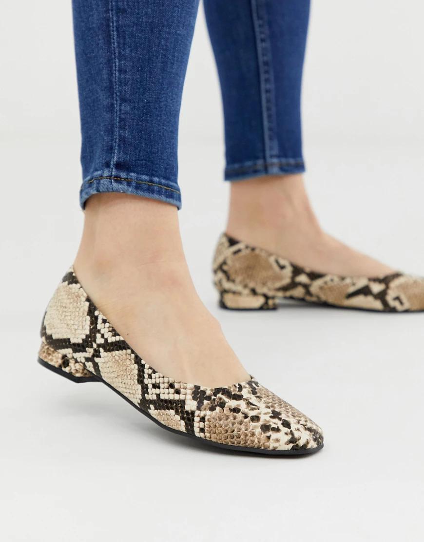 Accessorize | Туфли на плоской подошве с квадратным носком и эффектом змеиной кожи Accessorize-Myльтu | Clouty