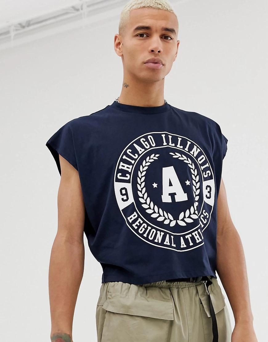 ASOS DESIGN | Укороченная oversize-футболка с принтом города ASOS DЕSIGN-Темно-синий | Clouty