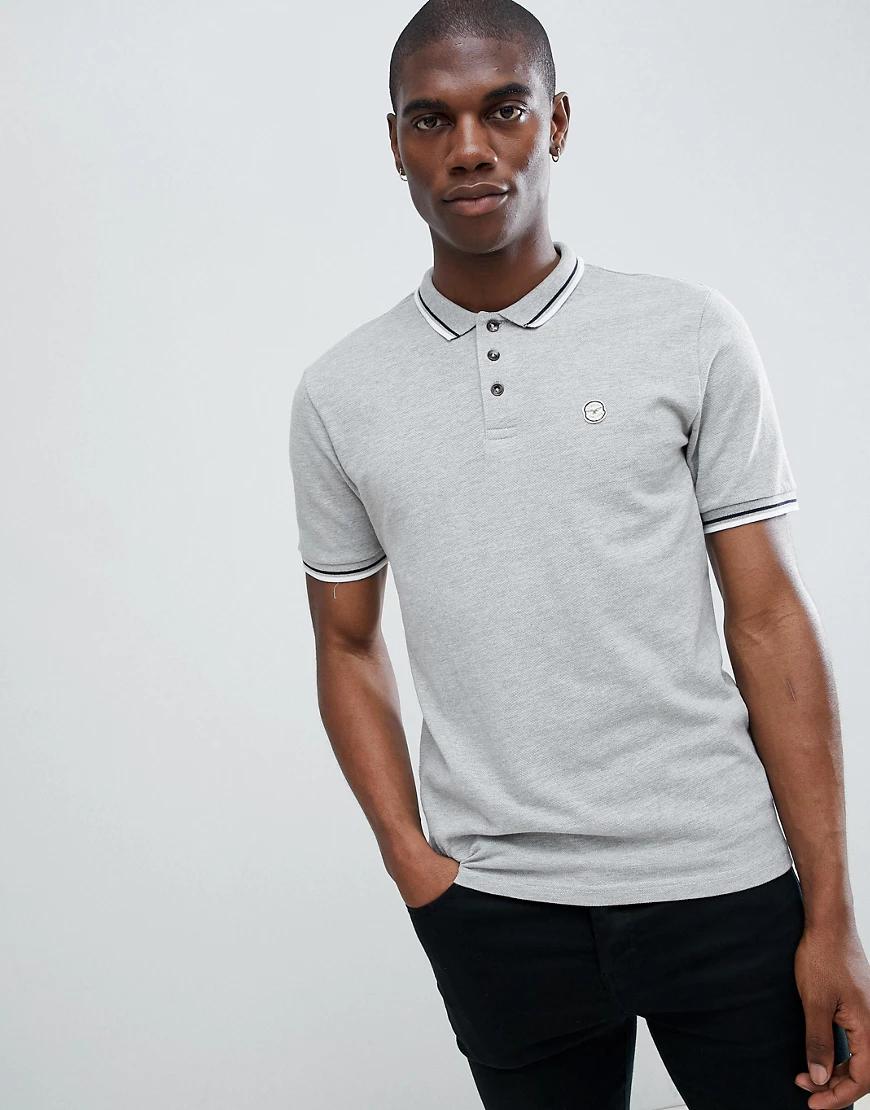 Le Breve   Узкая футболка-поло Le Breve-Серый   Clouty
