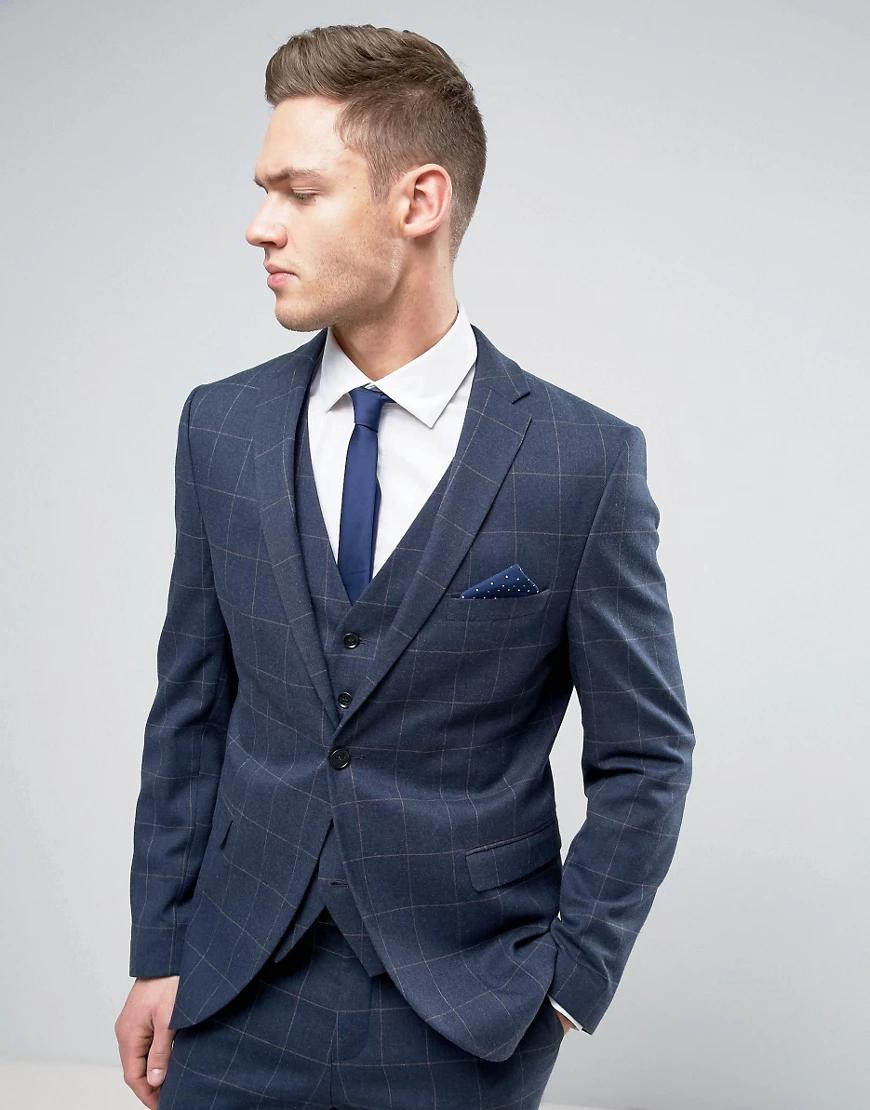 Selected Homme | Узкий пиджак в тонкую клетку Selected Ноmmе-Темно-синий | Clouty