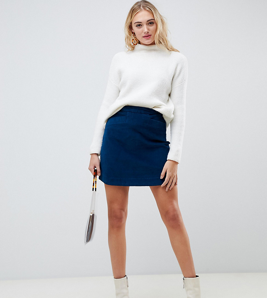 VERO MODA | Вельветовая мини-юбка Vero Moda Таll-Синий | Clouty
