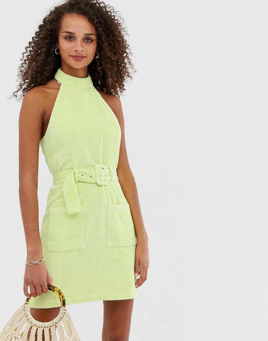 ASOS DESIGN | Вельветовое платье мини с халтером ASOS DЕSIGN-Зеленый | Clouty