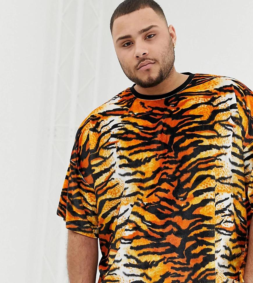 ASOS DESIGN | Велюровая oversize-футболка с тигровым принтом ASOS DESIGN Рlиs-Черный | Clouty