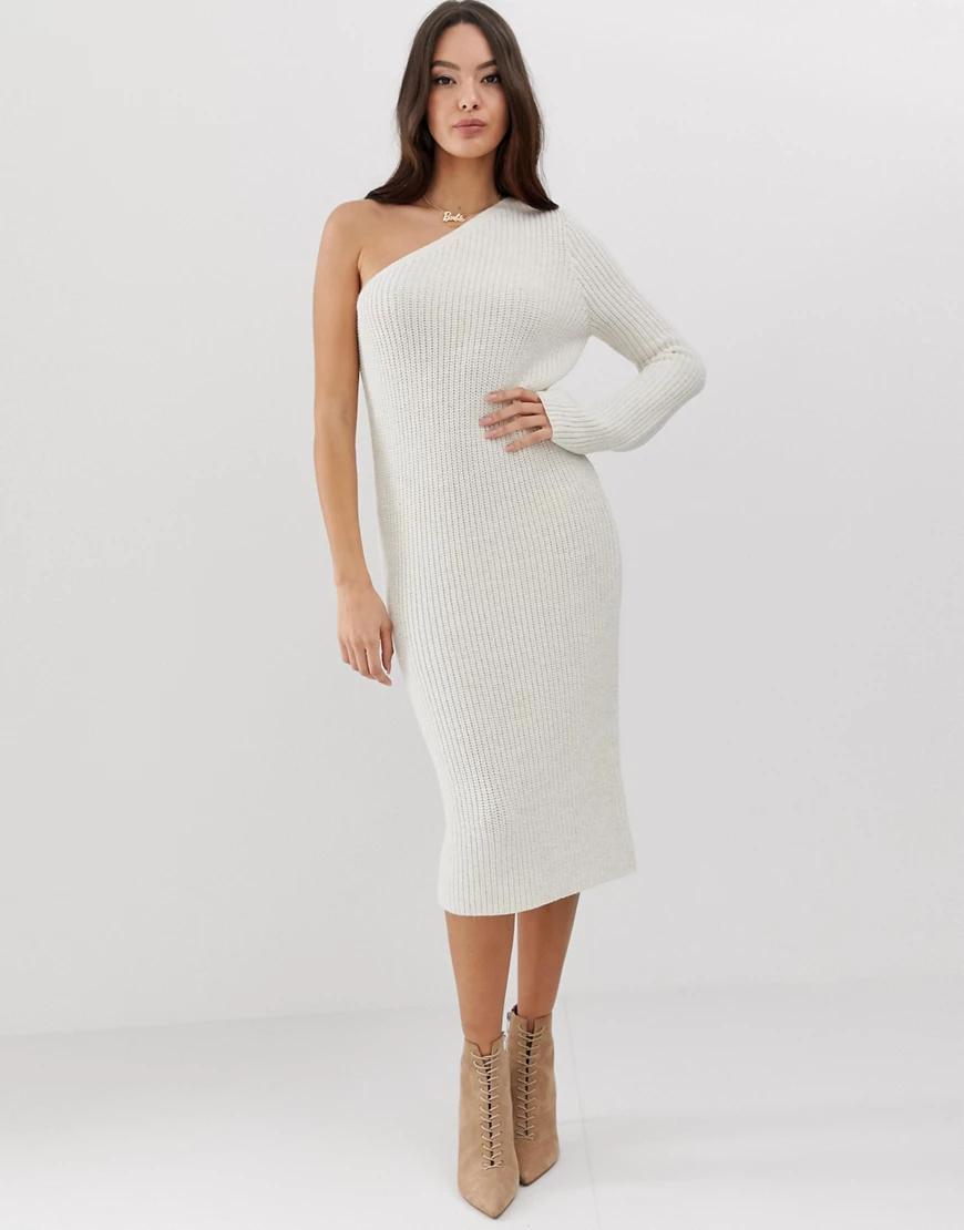 ASOS DESIGN | Вязаное платье миди на одно плечо ASOS DESIGN-Neutral | Clouty