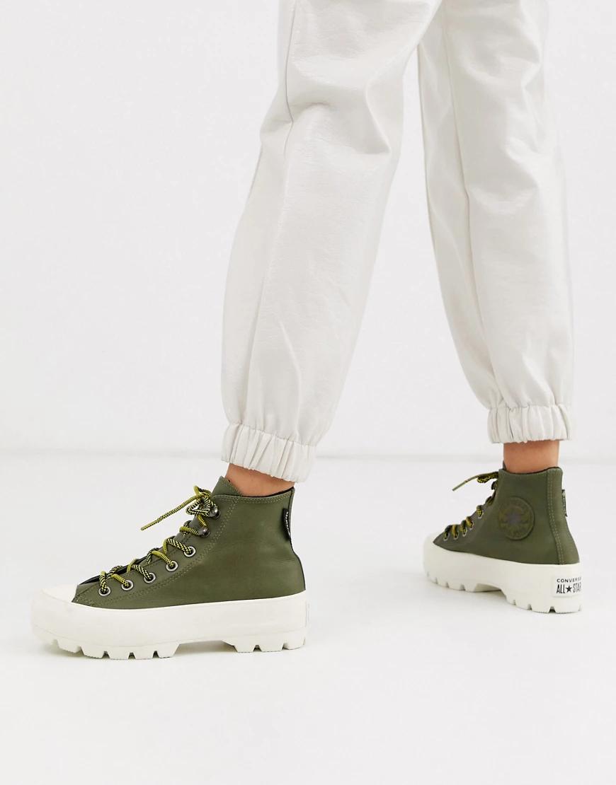 CONVERSE | Высокие походные ботинки из кожи цвета хаки на массивной подошве Converse Goretex Chuck Тауlоr-Зеленый | Clouty