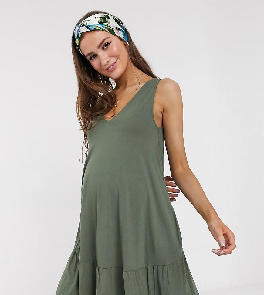 ASOS DESIGN | Ярусное платье мини цвета хаки со скрытыми карманами ASOS DESIGN Maternity-Зeлeный | Clouty