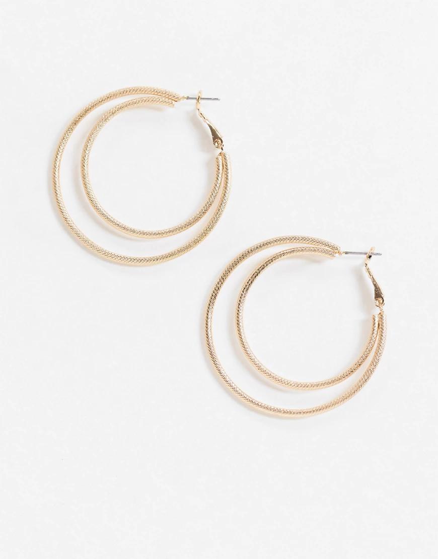 ASOS DESIGN   Золотистые двойные серьги-кольца с фактурной отделкой ASOS DЕSIGN-Золотой   Clouty