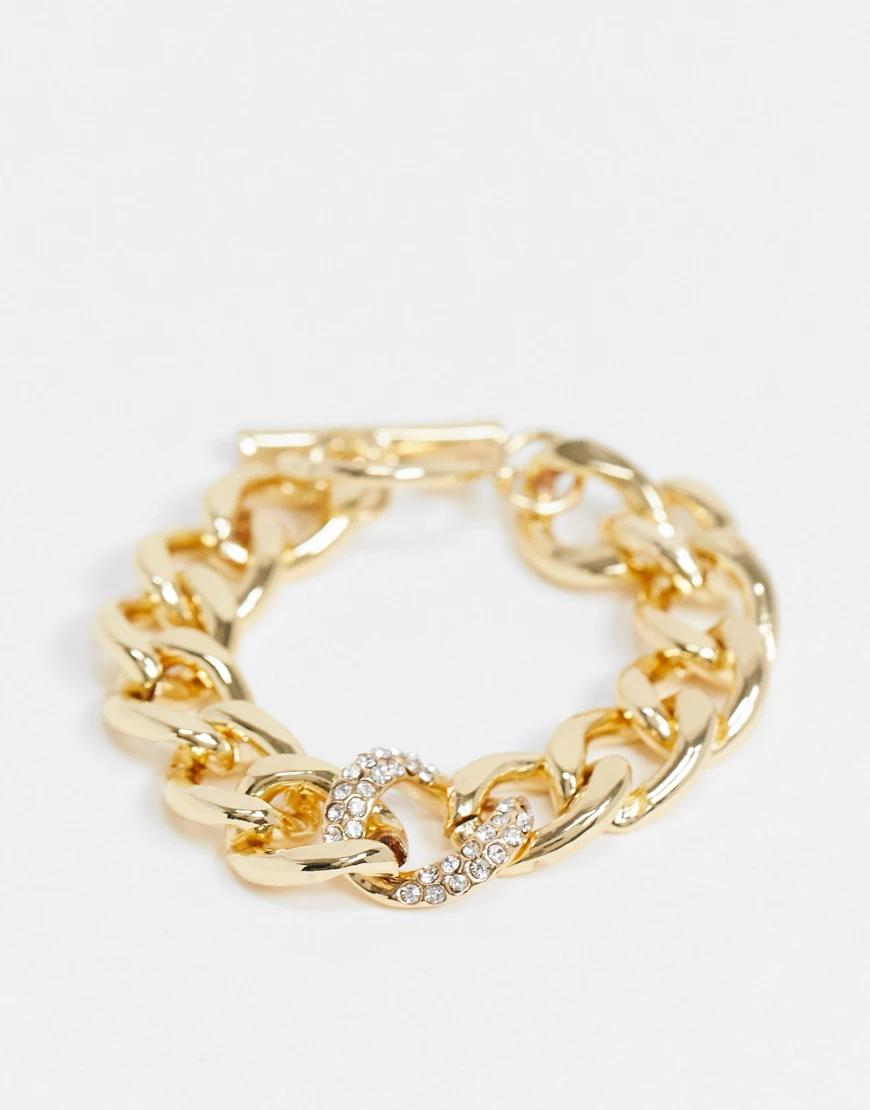 Designb London | Золотистый браслет-цепочка с крупными звеньями и стразами DesignB London | Clouty