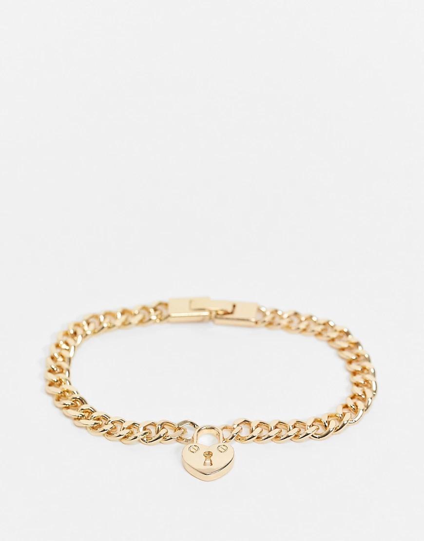 Pieces | Золотистый браслет-цепочка с подвеской в виде замка-сердечка Pieces | Clouty