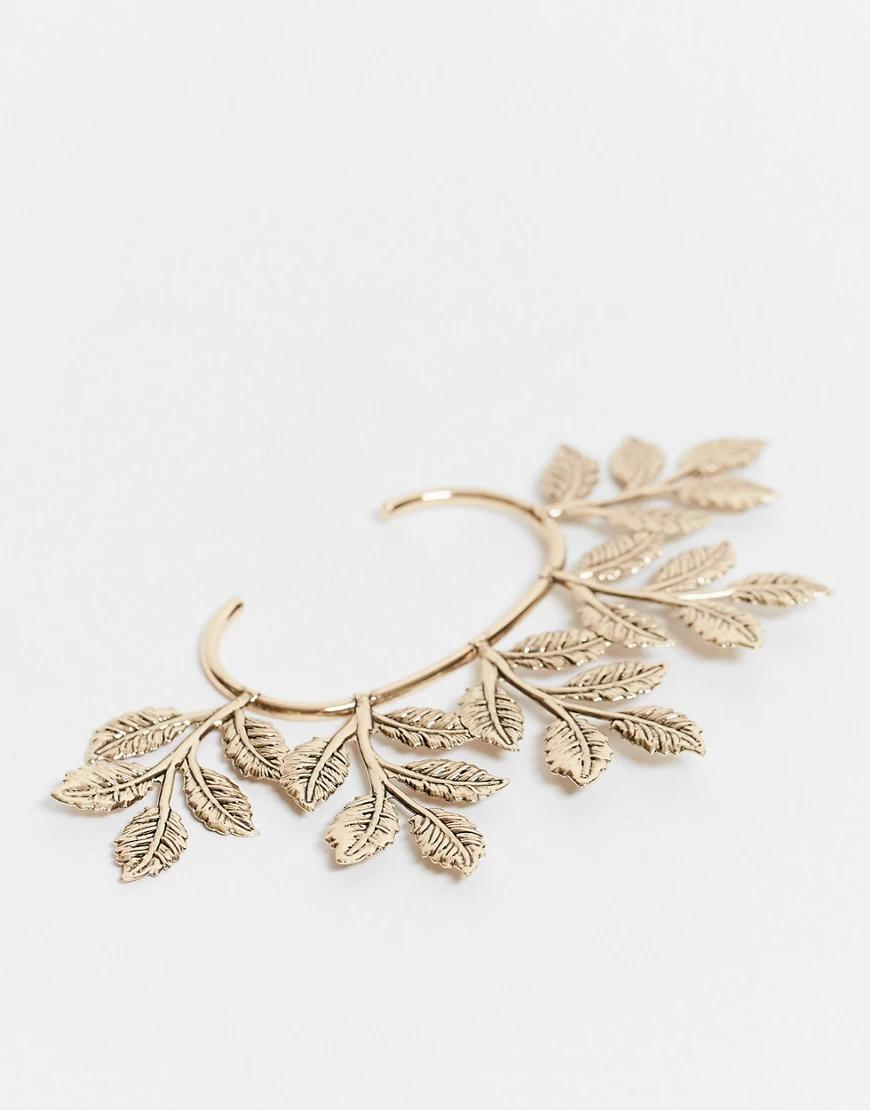 ASOS DESIGN | Золотистый кафф с отделкой в виде листьев ASOS DЕSIGN-Золотой | Clouty