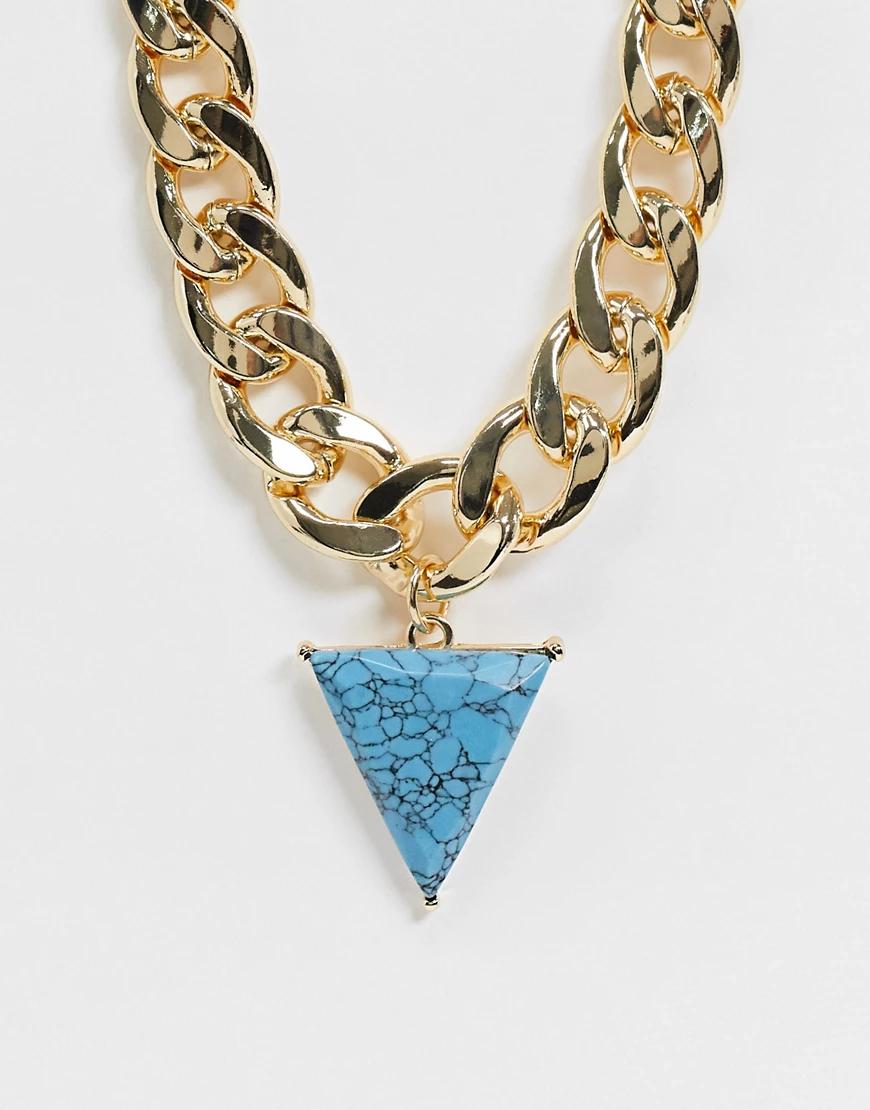 ASOS DESIGN | Золотистая цепочка с крупными звеньями и треугольной подвеской из искусственной бирюзы ASOS DЕSIGN-Золотой | Clouty