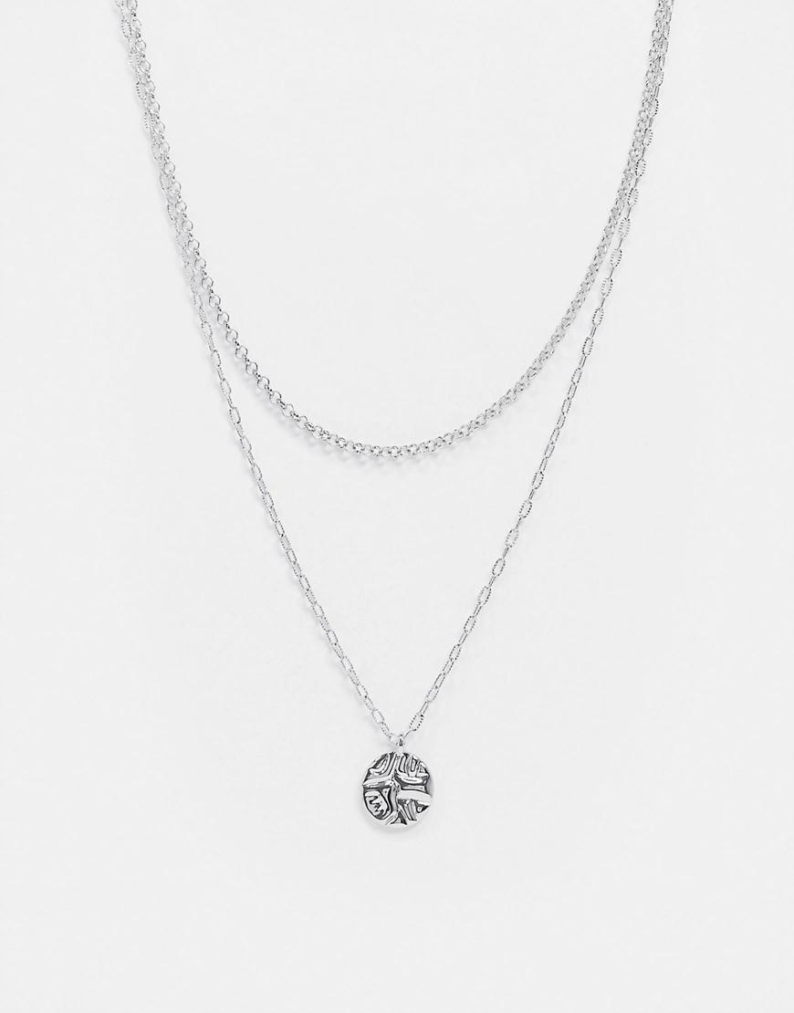 TOPSHOP   Золотистое ярусное ожерелье с подвеской в виде монеты Торshор-Серебряный   Clouty