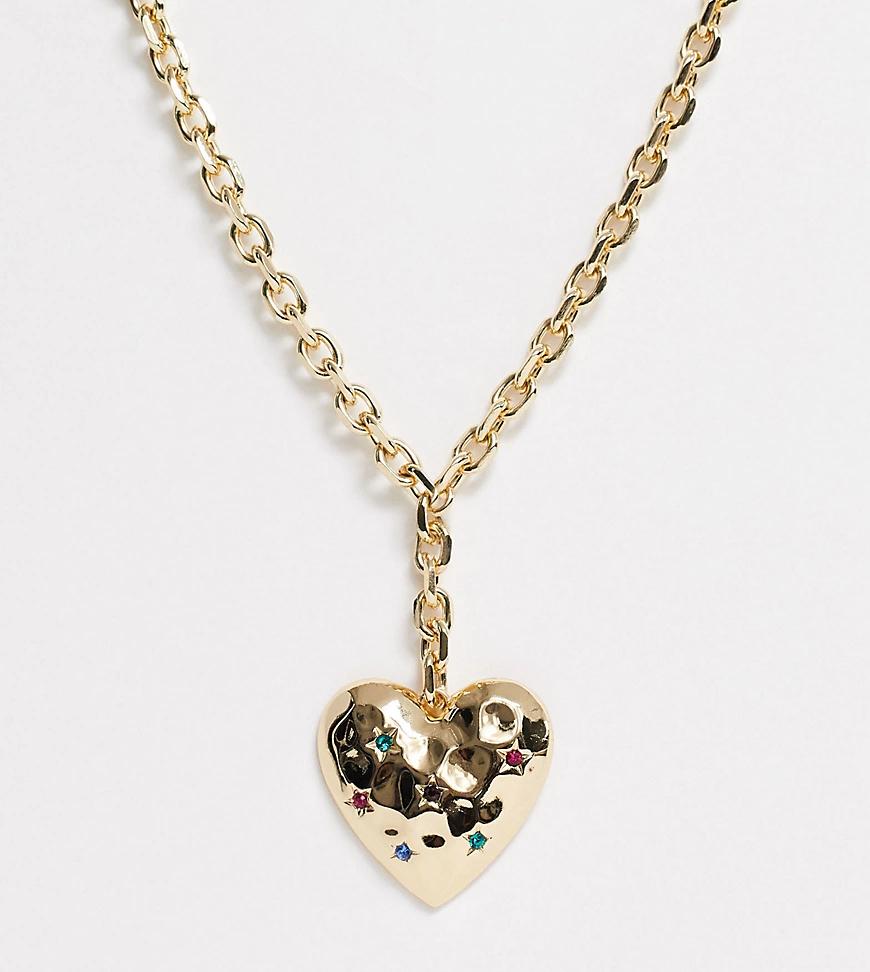 Erase   Золотистое массивное ожерелье подвеской-сердцем эксклюзивно от Еrаsе-Золотой   Clouty