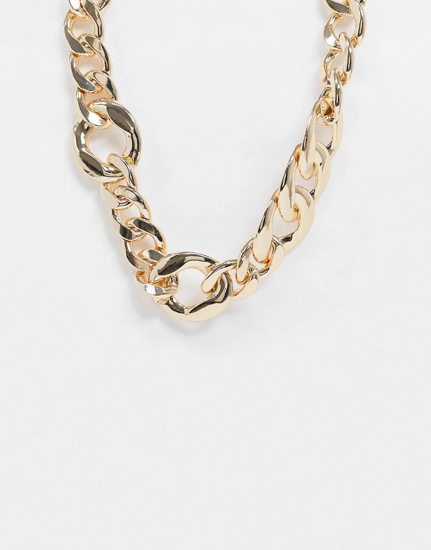 ASOS DESIGN | Золотистое ожерелье в виде цепочки с крупными звеньями разного размера ASOS DЕSIGN-Золотой | Clouty