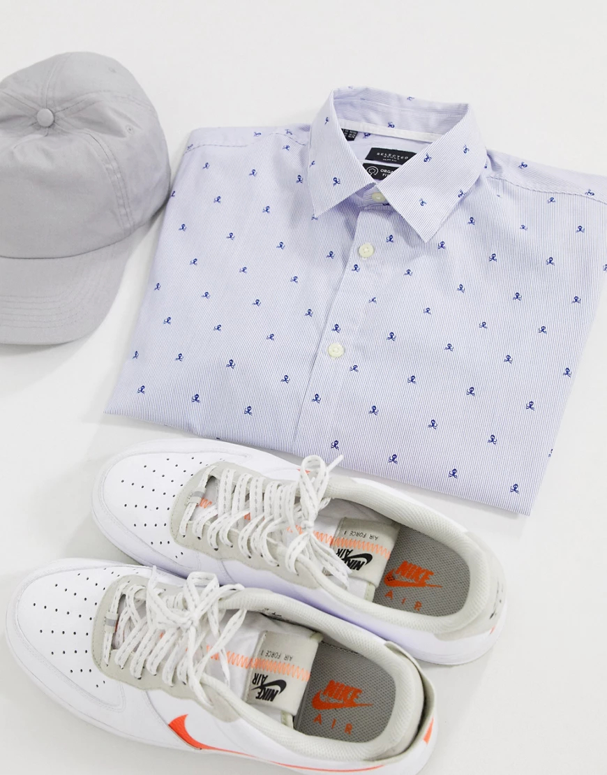 Selected Homme   Зауженная рубашка с короткими рукавами Selected Homme-Синий   Clouty