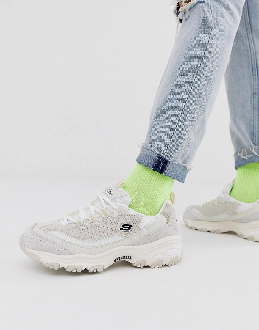 Skechers | Замшевые кроссовки кремового цвета Skechers - D'Lites Free Energy-Бeлый | Clouty