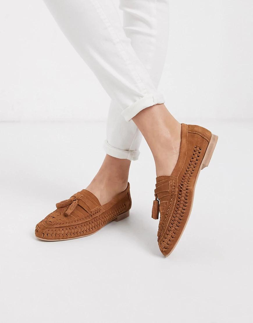 ASOS DESIGN | Замшевые туфли на плоской подошве ASOS DЕSIGN-Коричневый цвет | Clouty