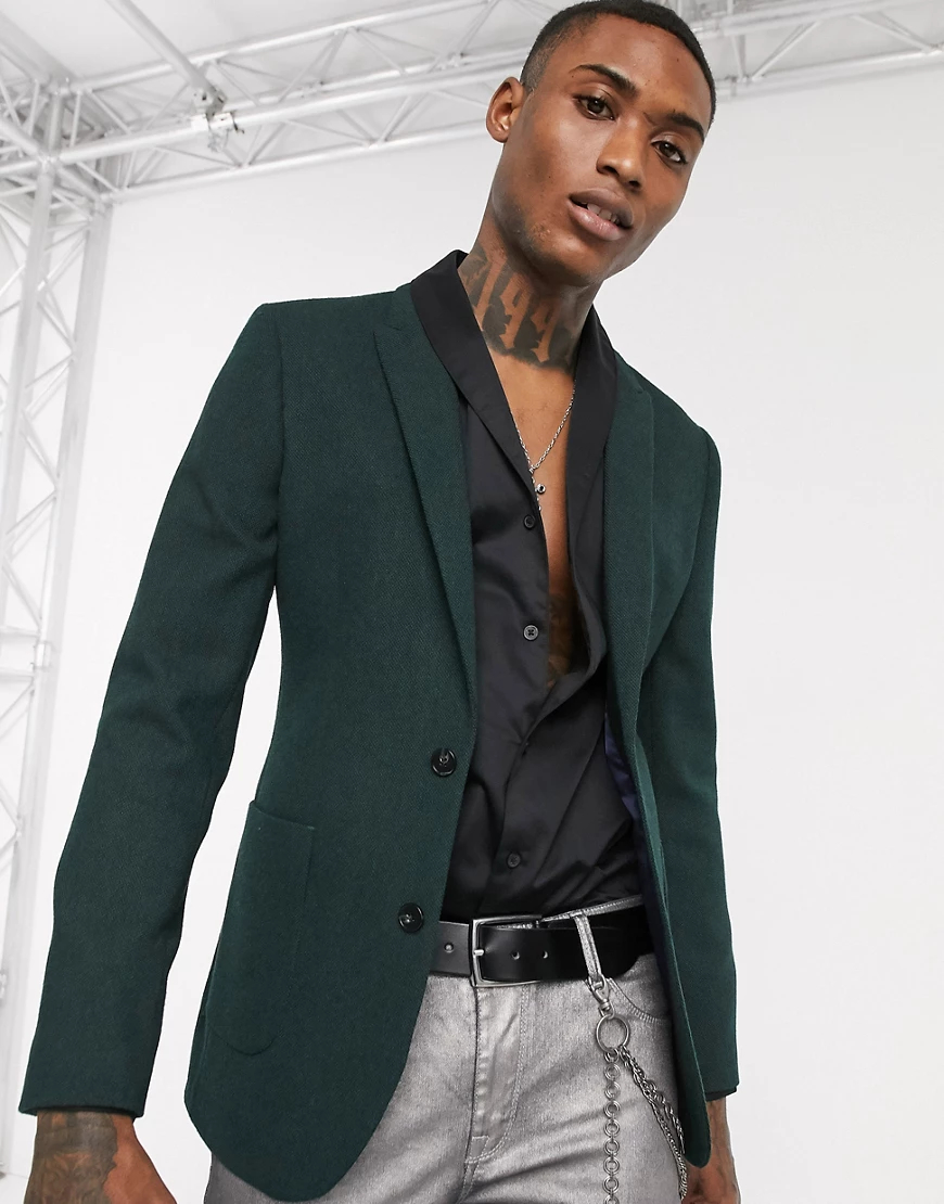ASOS DESIGN | Зеленый супероблегающий пиджак с добавлением шерсти ASOS DESIGN | Clouty