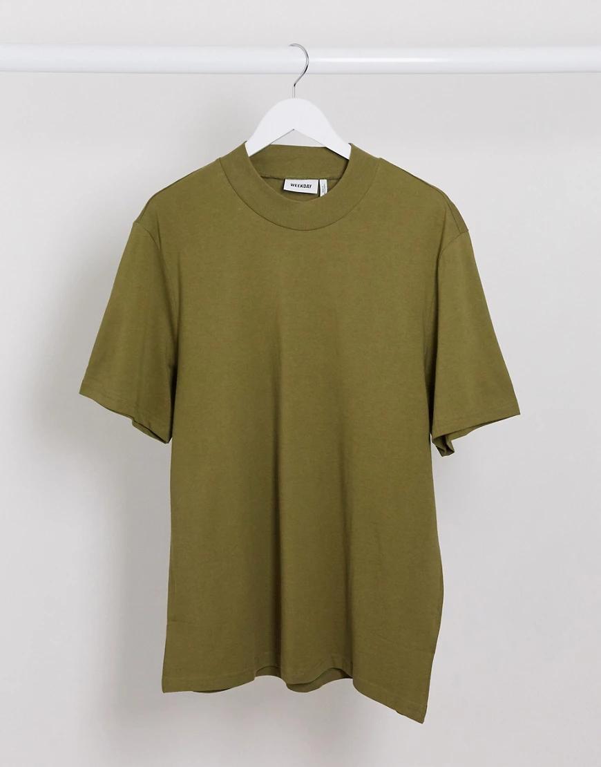 Weekday | Зеленая футболка Weekday-Зеленый | Clouty