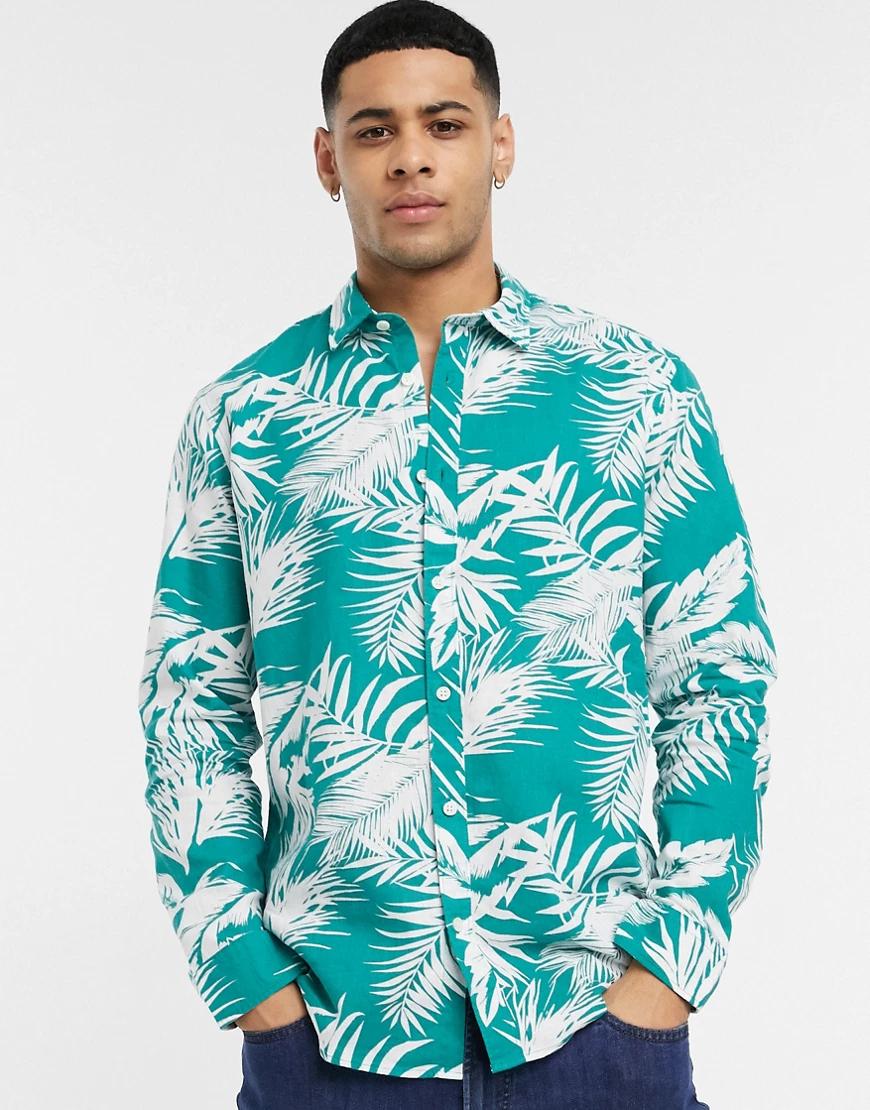 Esprit   Зеленая рубашка с пальмовым принтом Еsрrit-Зеленый   Clouty